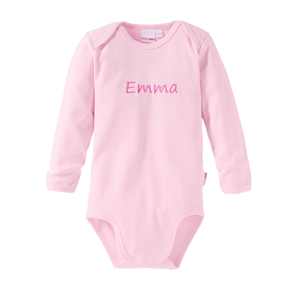Bornino BASICS Body langarm mit Namen  rosa 1