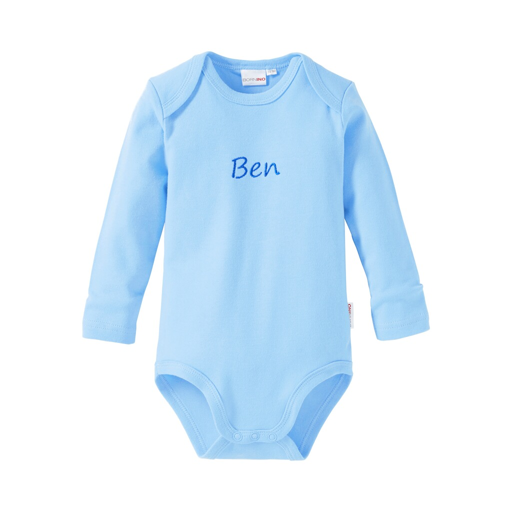 Bornino BASICS Body langarm mit Namen  hellblau 1