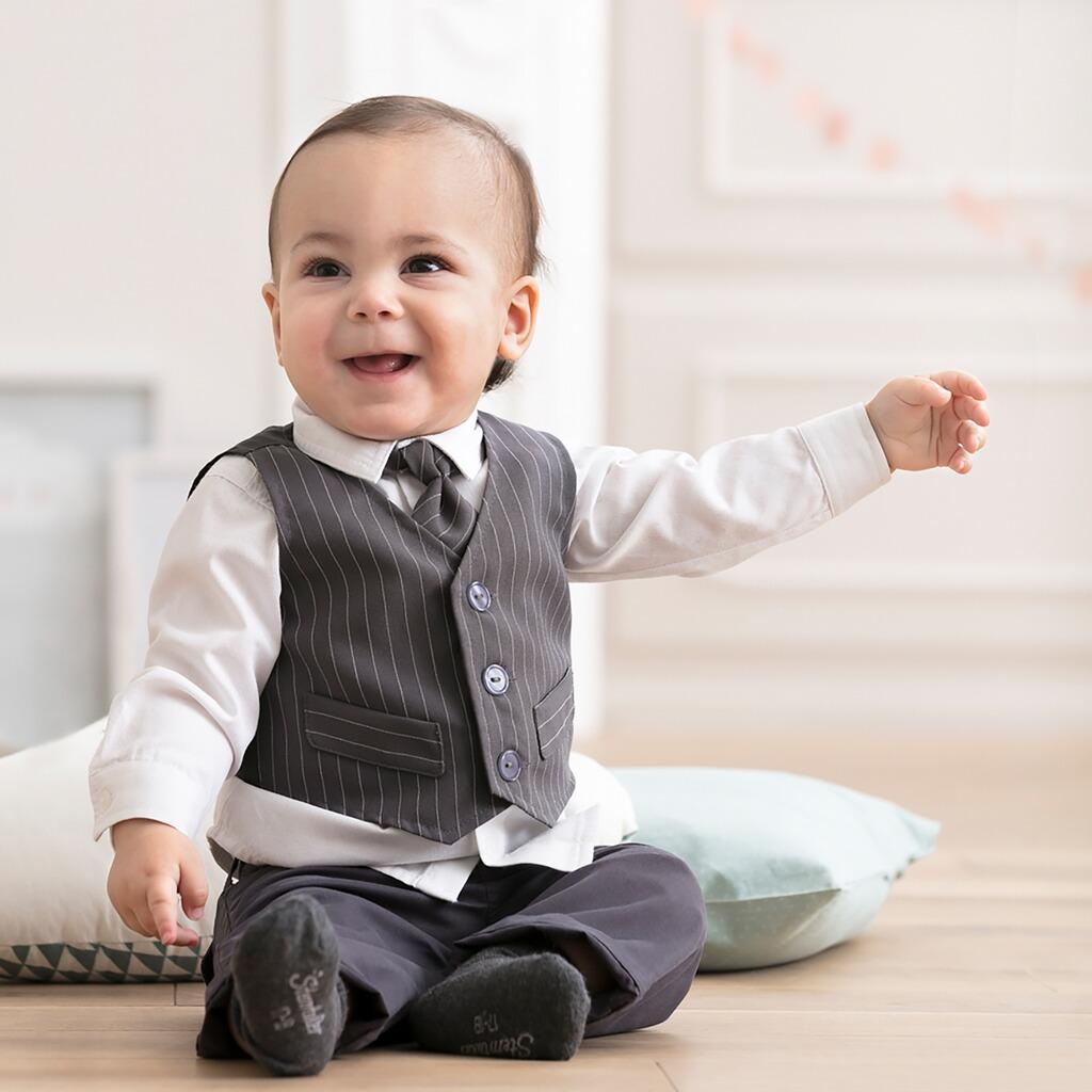 on sale 54d2d 0fce3 BORNINO Festliche Mode 4-tlg. Set Anzug mit Weste, Hemd, Hose und Krawatte