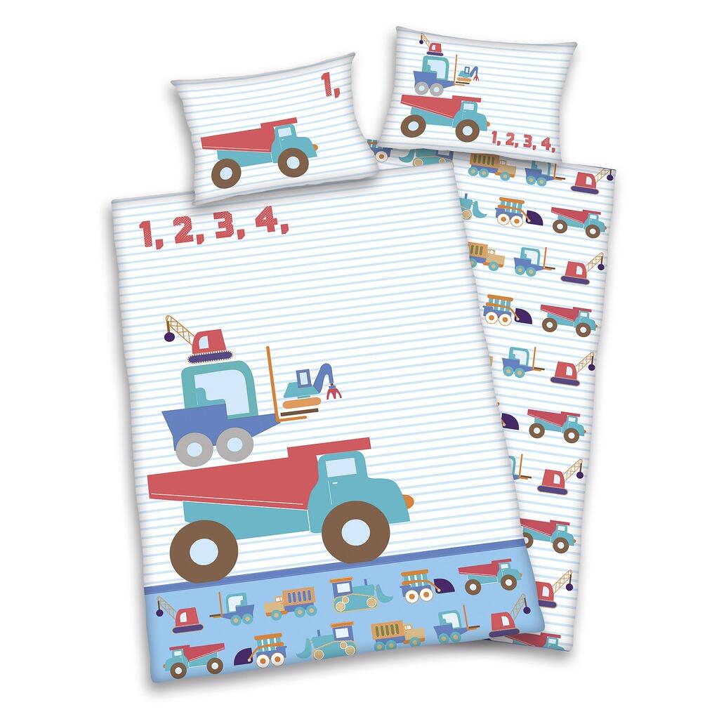 Herding Kinderbettwäsche Renforcé Jana Auto 40x60 100x135 Cm