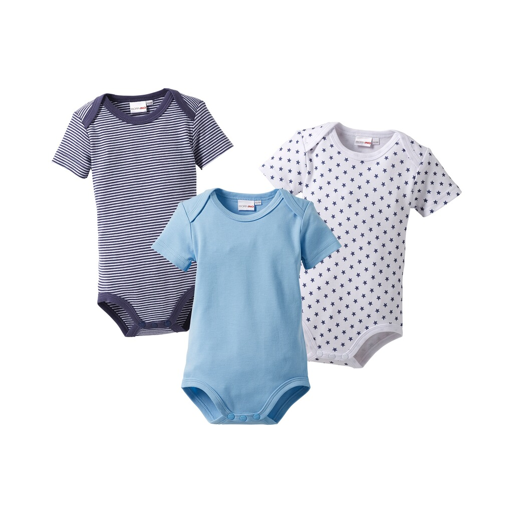 Bornino MOUSE & ELEPHANT Body kurzarm 3er-Pack  blau 1