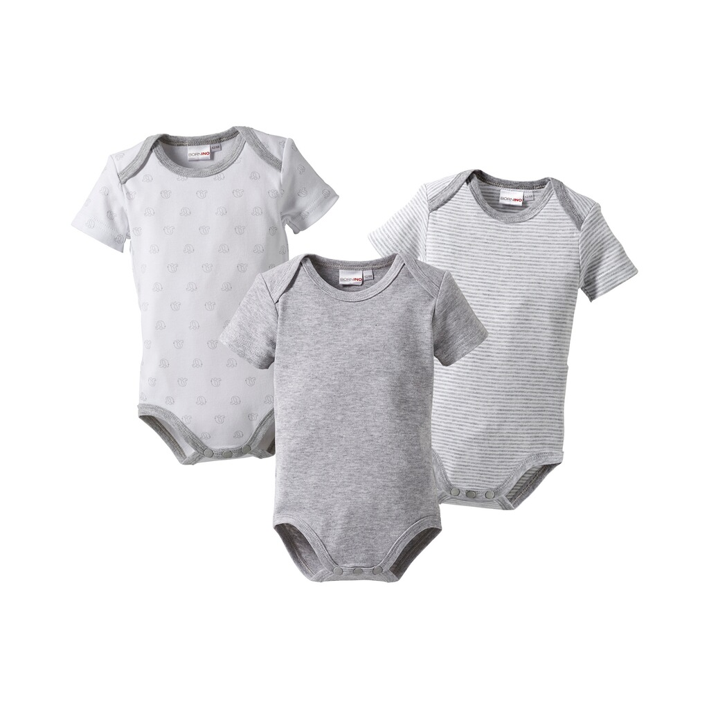 Bornino MOUSE & ELEPHANT Body kurzarm 3er-Pack  grau 1