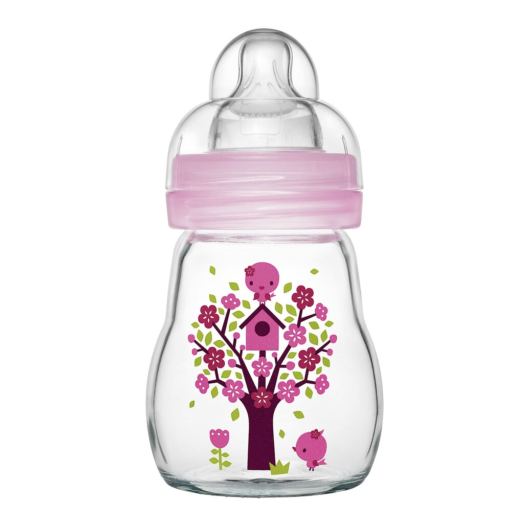 MAM  Babyflasche Feel Good, 170 ml, Glas, ab 0M  rosa 1