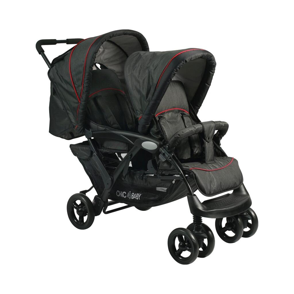 chic 4 baby duo zwillings und geschwisterwagen mit tragetasche online kaufen baby walz. Black Bedroom Furniture Sets. Home Design Ideas