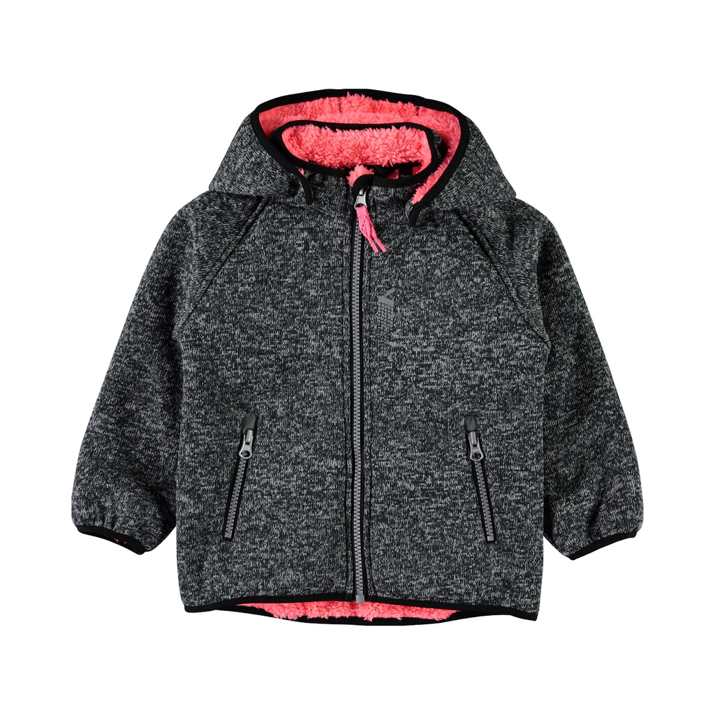 NAME IT  Softshelljacke Strickoptik mit Teddyfell  grau/pink 1