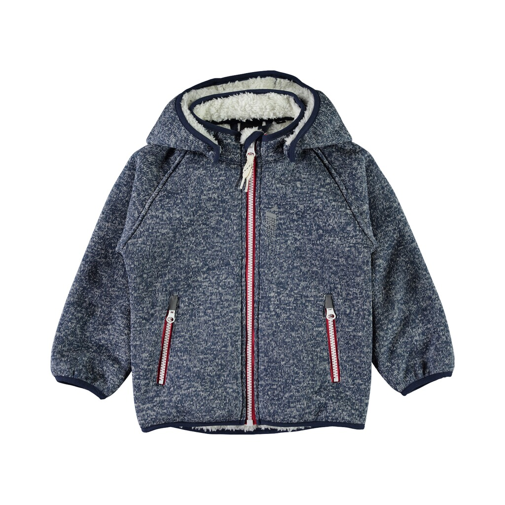 NAME IT  Softshelljacke Strickoptik mit Teddyfell  blau/weiß 1