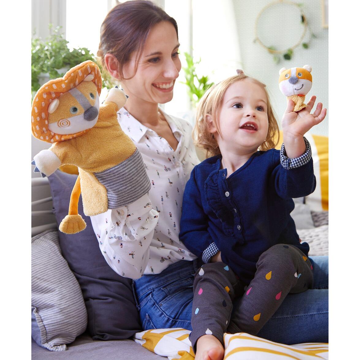 haba handpuppe löwe mit baby online kaufen  babywalz