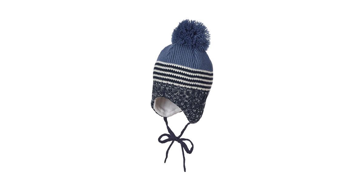 Sterntaler Baby Jungen Wintermütze Strick-Bommelmütze Baumwollfleece gefüttert