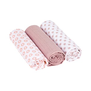 Lässig  3er-Pack Mullwindel Swaddle & Burp Blanket L 85x85 cm  Little Chums Stars light pink