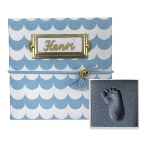 My Magic Footprint  Baby Abdruckset Erinnerungsbox  blue Waves