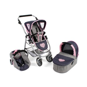 Bayer Chic  Kombi-Puppenwagen 3in1 Set Emotion All In  Melange navy-grau