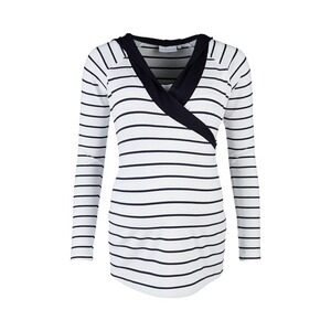 2hearts WE LOVE BASICS Stillshirt Wellness mit Kapuze weiß/marine  Weiß / Marine