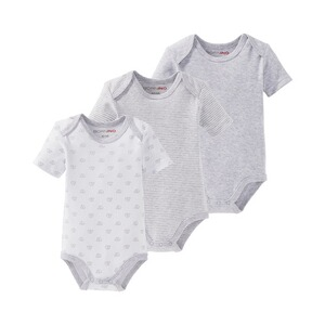 Bornino MOUSE & ELEPHANT Body kurzarm 3er-Pack  grau