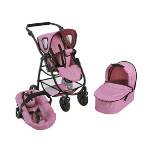 BAYER CHIC  Kombi-Puppenwagen 3 in 1 Emotion All In  jeans/pink