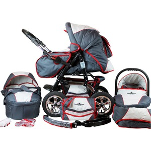 Bergsteiger  Milano Kombikinderwagen  grey/red stripes