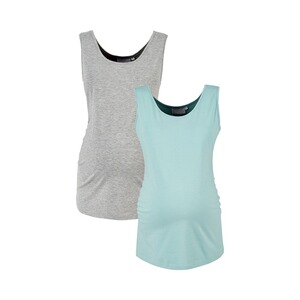 2hearts WE LOVE BASICS 2er-Pack Umstands-Tops  grau/aqua