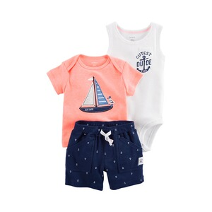 CARTER´S  3-tlg. Set T-Shirt, Body ohne Arm und Shorts Boot