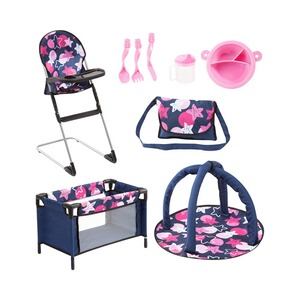 Bayer Design  Puppen-Zubehör Reisebett Travel Set 9 in 1  dunkelblau/pink/rosa
