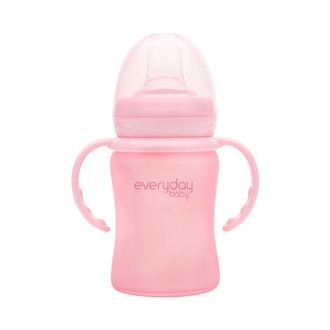 Trinklernbecher aus Glas mit Griffen, Sippy Cup mit Silikonmantel 150 ml pink