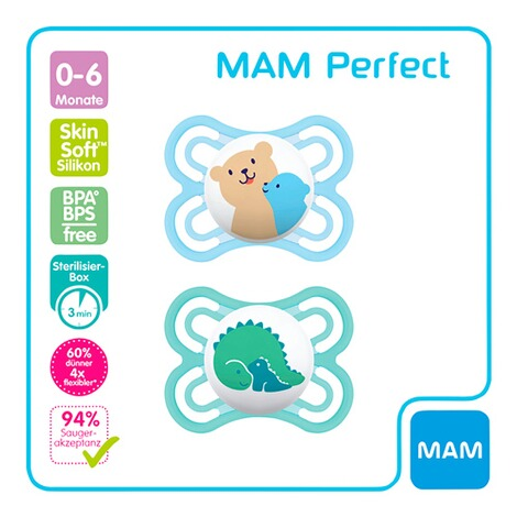 MAM2er-Pack Schnuller Perfect 0-6M  Bar/Dino 2