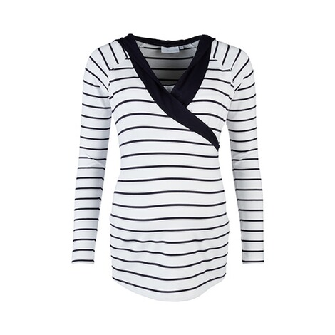 2hearts WE LOVE BASICS Stillshirt Wellness mit Kapuze weiß/marine  Weiß / Marine 1